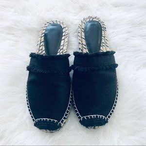Joie espadrille black fringe slides